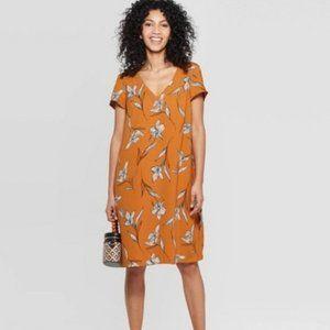 A New Day Flower Shift Dress Orange Size XS NWT
